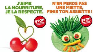"""J'aime la nourriture, je la respecte disent deux cerises en coeur, """"n'en perds pas une miette, finis ton assiette"""" dit une assiette de légume / STOP AU GASPILLAGE ALIMENTAIRE"""